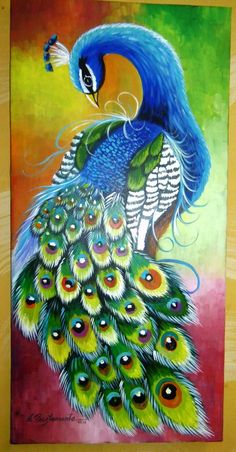 Peacock painted on canvas with acrylic paints. Peacock Drawing, Peacock Wall Art, Peacock Painting, Fabric Painting, Watercolor Paintings, Peacock Images, Peacock Pictures, Bird Drawings, Animal Drawings