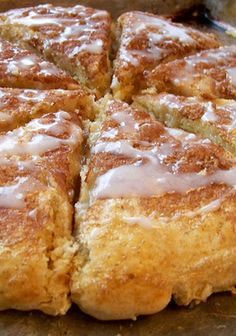 Glazed Cinnamon Scones -- these are the BEST! If you like scones, this is a MUST-TRY recipe! I added cinnamon chips to the batter, also. SO YUMMY ! Breakfast And Brunch, Breakfast Dishes, Breakfast Recipes, Dessert Recipes, Scone Recipes, Best Scone Recipe, Breakfast Scones, Breakfast Salad, Pumpkin Recipes