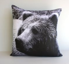 GRIZZLY BEAR cushion woodland  decorative by mybeardedpigeon, $49.00