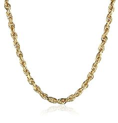 Men's 14k Yellow Gold Solid Diamond-Cut Rope Chain Necklace (3.0mm)