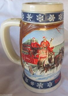 1995 Budweiser Lighting the Way Home Holiday Stein No Box *
