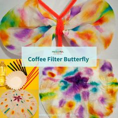 Coffee Filter Butterflies!  There are many variations here on how to make these but the bottom line: just let the children color and spray with water...have a LOT of coffee filters at hand-they will want to make a lot of these! Find more Caterpillars & Butterflies preschool theme activities on this page!