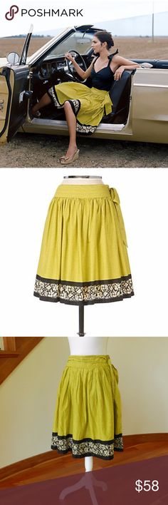 """Wet Season skirt by Odille Easy to wear skirt for many occasions.  Lime voile, full and flush with teensy lemon buds & a black floral border.  Size zip and tie.  Green, yellow, black, white.  Size 6.  15.5"""" waist, 24"""" length. Anthropologie Skirts Midi"""
