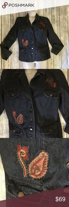 HalfMoon Bay Embroidered Jean Jacket Gorgeous rare Boutique embroidered jacket. Size medium . In excellent used condition. Festival style . Buttons from chest area to bottom. Dark blue in color . 4 small pockets in front. Half Moon Bay Jackets & Coats Jean Jackets