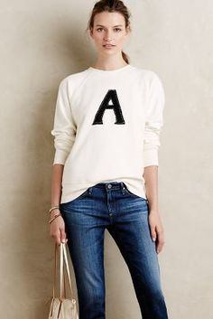 Alexa Chung for AG Monogram Pullover Ivory #Sweaters #anthrofave