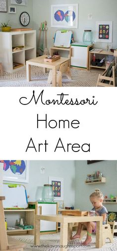Montessori Home Our Art Area Montessori home art area. Ideas and inspiration for incorporating art into your home. The post Montessori Home Our Art Area appeared first on Toddlers Diy. Montessori Playroom, Toddler Playroom, Montessori Homeschool, Montessori Activities, Infant Activities, Montessori Elementary, Homeschooling, Montessori Practical Life, Home Daycare