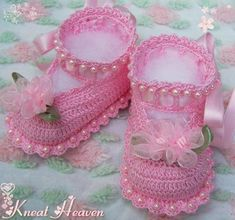 Boutique Crochet Little Lady Baby Booties w/Pearls #2 - Kneat Heaven