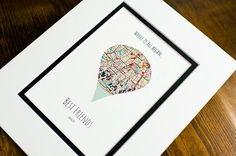 Where It All Began - Unique Map Gifts for Friends - Gift For Best Friends- Distance Friendship Relationship Gift- BFFs Christmas Present First Anniversary Gifts, Paper Anniversary, Best Friend Gifts, Gifts For Friends, Best Friends Distance, Wedding Vow Art, Unique Maps, Long Distance Relationship Gifts, Paper Hearts