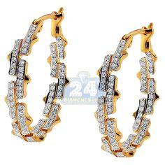 Womens 0.74 Carat Diamond Fancy Shaped Oval Hoop Earrings 14K Yellow Gold Oval Diamond, Diamond Clarity, Diamond Studs, Green Peridot, Purple Amethyst, Pink Sapphire, Diamond Hoop Earrings, Diamond Jewelry, Womens Earrings
