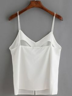 Shop White Spaghetti Strap Buttons Cami Top at ROMWE, discover more fashion styles online. Cami Crop Top, Cami Tops, Casual Outfits, Fashion Outfits, Womens Fashion, Romwe, Clothing Patterns, Pretty Outfits, Clothes