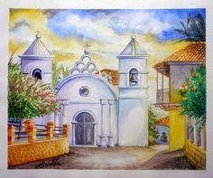 Plaza de Yuscarán por Hector Cortes - Pintor y fotografo hondureño Acuarelas (watercolor) de Tegucigalpa y Yuscaran, Honduras