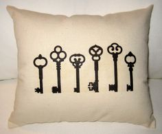 French Country Skeleton Key Pillow, Paris Inspired Shabby Chic Cushion with Vintage Keys, Antique Key, Neutral Home Decor