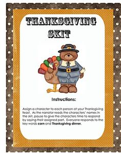 Printable Thanksgiving skit perfect for Thanksgiving Day! #Thanksgiving #skit #kids