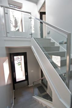 Glass and metal stair railing