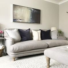 Quick pic with the sofa all plumped up before someone dive bombs it. the kids both have school friends over tonight and we've just ordered pizza 🍕 Enjoy your eve all whatever you are up to 💗 Living Room Grey, Living Room Sofa, Living Room Decor, Living Rooms, Room Interior, Interior Design, Chandelier In Living Room, Living Room Inspiration, Living Room Designs