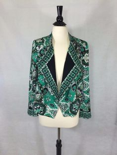Chicos Womens Blazer Paisley Border Jacket Top Green Polyester Size 0 = 4 NWT #Chicos #Blazer