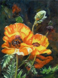 """""""Hot Poppies"""" Oil on canvas, 8"""" x 6"""". I loved the dramatic contrast in this painting and the faces of the poppies turning up to the sun. The bud is perky too."""