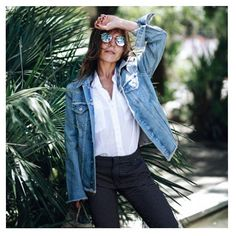 Crush | @mypeeptoes wearing VENUS Denim Jacket, CODY Color White shirt and LIZZY Fancy Plume.  #reikojeans #palm #palmtrees #ootd #outfit #mypeeptoes #denim #jacket #denimlovers #ss17 #summervibes #summerlove #summer #instafashion #fashioniger #fashionblogger