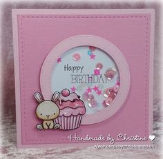 Handmade by Christine: Happy Birthday to In The Pink! / Materials: Image - Mama Elephant Carnival Cupcakes, Dies: MFT Dienamics Stitched Circle Frame die, Lil' Inkers Stitched Square, Colouring - Copics, Pinks - Bunny - Glitter and Sequins from stash Girl Birthday Cards, Bday Cards, Handmade Birthday Cards, Greeting Cards Handmade, Birthday Greetings, Carnival Cupcakes, Mama Elephant Cards, Karten Diy, Shaker Cards
