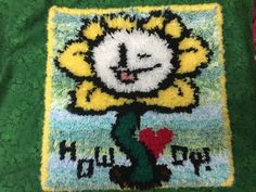 An Undertale inspired decorative rug! I love Flowey.
