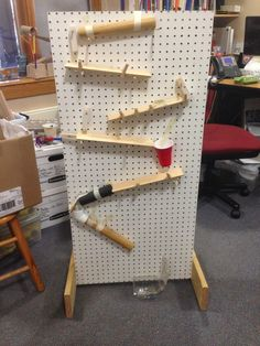Pegboards for Rube Goldberg machines - includes link for directions to make