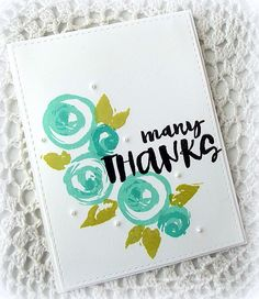 """Love the new Many Thanks stamp set from the new """"The Color of Fun"""" release! Beautiful new ink colors too! :)  www.keepsakesbymelissa.blogspot.com"""