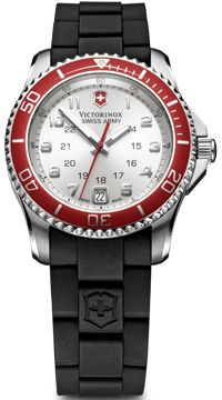 Swiss Army Maverick GS Silver Dial Black Rubber Strap Ladies Watch 241484 BY Swiss Army