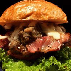 Mushroom Cheese Bacon Burger   Burger Shop HOTBOX