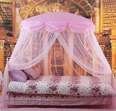 Mosquito Net Bed Canopy Pink Princess bedding fits twin / Queen / King | eBay & Pink Fairy Princess Mosquito Net 4 Poster Bed Canopy Single Bed ...