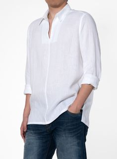 A handsome collarless shirt crafted from lightweight linen with classically designed giving an old school looks appeal. Beach Shirts, Summer Shirts, Indian Men Fashion, Mens Fashion, Nehru Shirt, Gents Kurta, Bespoke Shirts, White Linen Shirt, Natural Clothing