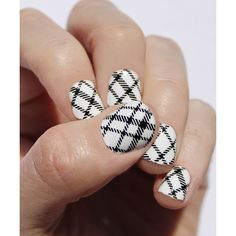 So Gloss Nail Wraps Black & White Plaid Nail Wraps (160 ZAR) ❤ liked on Polyvore featuring beauty products, nail care, nail treatments and nails