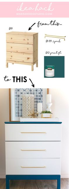 Take your Tarva Chest from Basic to Bananas IKEA Hack.Take your Tarva Chest from Basic to BananasIKEA Hack.Take your Tarva Chest from Basic to Bananas Ikea Furniture Hacks, Repurposed Furniture, Ikea Hacks, Furniture Projects, Home Furniture, Furniture Design, Diy Projects, Diy Hacks, Furniture Outlet