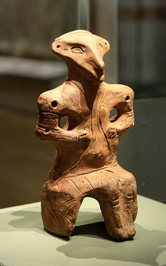 Seated fired clay figurine. Late Neolithic (4500-4000 BC). Vinča (Serbia). British Museum.