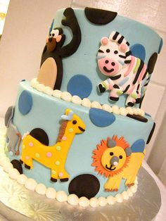 http://cakedecoratingcoursesonline.com/cake-decorating/ Animal Baby Shower Cake. #Baby #Shower #Cake of Your Dreams - Learn How to #Decorate #Cakes - Visit #Online Cake #Decorating #Classes on http://CakeDecoratingCoursesOnline.com