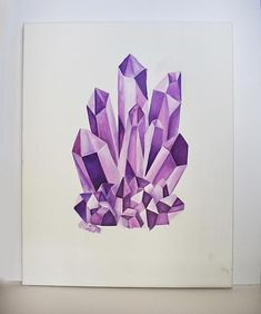 Premium Tube Acrylic Purple Crystal Painting - Project by DecoArt Colorful Drawings, Cool Drawings, Crystal Illustration, Gem Drawing, Crystal Drawing, Art Plastique, Art Sketchbook, Watercolor Paintings, Watercolour