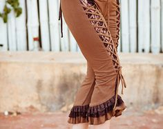 Sale - ORGANIC COTTON BLOOMERS - Trousers Pants - Burlesque Steampunk Tribal Belly Dance Costume Cabaret Burning man - Brown