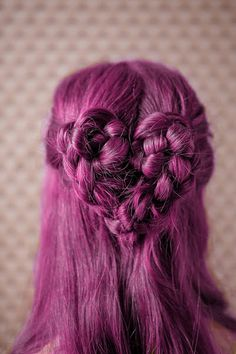 Half-up magenta purple hair with braided heart- So cute! Wish I knew how to do this.
