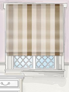 this roman blind features sophisticated shades in a classic striped design. Wide bands of pearl are interspersed with bronze, stone and mink; this may well be the most perfect neutral blind ever! Cosy Living Room, Roller Blinds, Summer House, New Homes, Blinds, House, Roller Shades, Natural Roman Blinds, Stripes Design