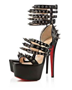 Christian Louboutin Black Platforms - cool but i would break my neck, lol Sexy High Heels, Hot Heels, High Heels Stilettos, High Heel Boots, Shoe Boots, Christian Louboutin Sandals, Christian Louboutin Outlet, Louboutin Shoes, Black Platform Sandals