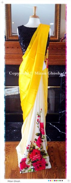 print placement for sari Indian Attire, Indian Ethnic Wear, Indian Style, India Fashion, Asian Fashion, Ethnic Fashion, Saris, Indian Dresses, Indian Outfits