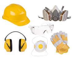 Safety equipment isolated on white background