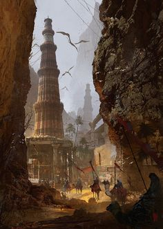 In the rugged canyons of Amarra, the hill people have many towns, settlements and outposts connected by a maze of roads, passes, and tunnels. Only a few of these paths are known to outsiders. (Donglu Yu Concept Art and Illustration)