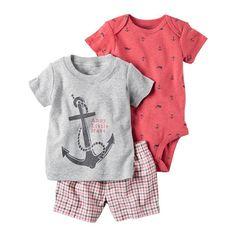 "Baby Boy Carter's ""Ahoy Little Mate"" Anchor Tee, Print Bodysuit & Plaid Shorts Set, Light Grey"