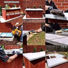 How to seal an #outdoor #concrete #countertop with #QUIKRETE Concrete & Masonry High Gloss Sealer.  #outdoorbar #patiofurniture #DIY #building #sealing #WhatAmericaIsMadeOf