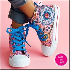 Flower power meets razzle dazzle in one fabulous high-top. With zipper on back for easy on-off. Man-made materials, sequins. Imported.  Log on to www.youravon.com/staceymckay to order