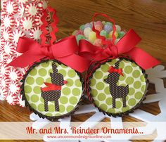 Mr. and Mrs. Reindeer Ornaments... so adorable!