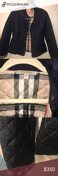 "Burberry Britt ""Kencott"" quilted jacket Authentic Burberry Brit ""Kencott"" quilted jacket.  Color is navy. Size small. Easily fits sizes 0-4. I am size 4 and I can still wear a sweater underneath this jacket. Retails for $595.00 (without tax- this is an absolute steal!). Can still be bought at high end retailers. I have kept this jacket in pristine condition. Only selling to make room in my closet for a different color jacket! Burberry Jackets & Coats Utility Jackets"