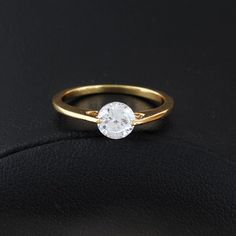 Simple Style Shiny Zircon Inlay Ring 19K Gold Plated Copper Finger Ring Full Sizes
