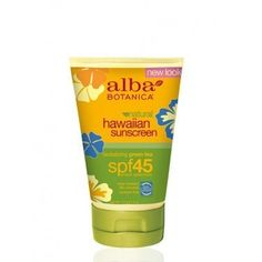 Alba Botanica: Natural Hawaiian Sunscreen Green Tea SPF 45, 4 oz by Alba Botanica. $12.86. Long-lasting UVA/UVB protection. Skin Cancer Foundation Recommendation. Fast-absorbing, lightweight formula with light, fresh scent. Paraben Free. Water resistant. 70% Certified Organic Ingredients. Perfect for daily wear. This non-greasy sun shield, with green tea antioxidants and certified organic aloe vera absorbs quickly and effectively with a light, fresh scent. Hypo-allerg...