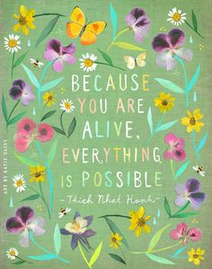 ON SALE! Everything Is Possible art print Watercolor Painting Thich Nhat Hanh inspirational Wall Art Katie Daisy